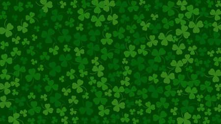 Happy Saint Patricks day green background. Green clover leaves pattern. Vector illustration.