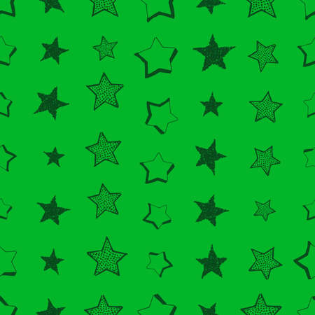 Seamless background of doodle stars. Green hand drawn stars on green background. Vector illustration Foto de archivo - 143714668