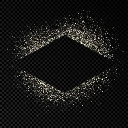 Rhombus frame with silver glitter on dark transparent  background. Empty background. Vector illustration.