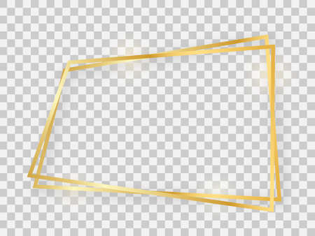 Double gold shiny trapezoid frame with glowing effects and shadows on transparent background. Vector illustration Foto de archivo - 143714673