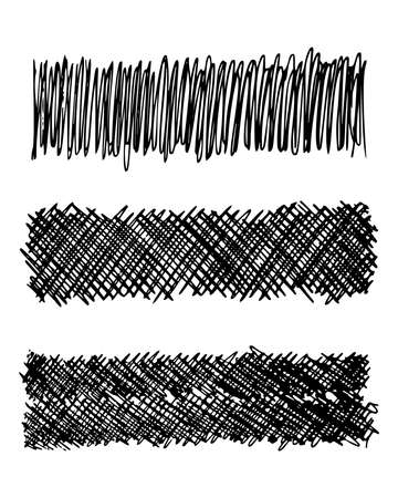 Sketch scribble smear. Set of three black pencil smears in the shape of a rectangle on white background. Great design for any purposes. Vector illustration. Ilustrace