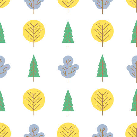 Seamless pattern with colored trees on white background. Vector illustration. Foto de archivo - 143714680