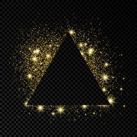 Triangle frame with gold glitter on dark transparent  background. Empty background. Vector illustration. 向量圖像