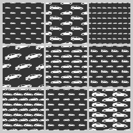 Set of nine seamless patterns with white cars on black background. Vector illustration.  イラスト・ベクター素材