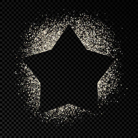 Star frame with silver glitter on dark transparent  background. Empty background. Vector illustration. Foto de archivo - 143714744