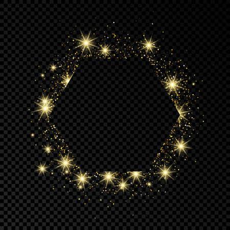 Hexagonrahmen mit Goldglitter auf dunklem transparentem Hintergrund. Leerer Hintergrund. Vektor-Illustration.