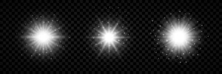 Light effect of lens flares. Set of three white glowing lights starburst effects with sparkles on a transparent background. Vector illustration Foto de archivo - 143689225