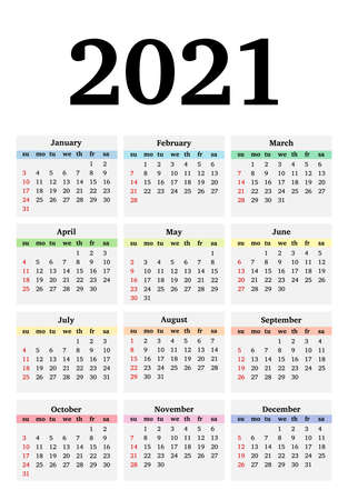 Calendar for 2021 isolated on a white background. Sunday to Monday, business template. Vector illustration Vector Illustratie