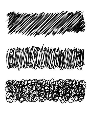 Sketch scribble smear. Set of three black pencil smears in the shape of a rectangle on white background. Great design for any purposes. Vector illustration. Ilustração