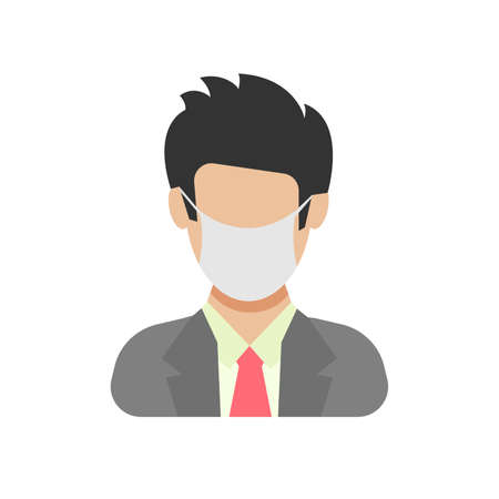 Avatar icon wearing protective face mask. Male in flat style with medical mask. Vector illustration