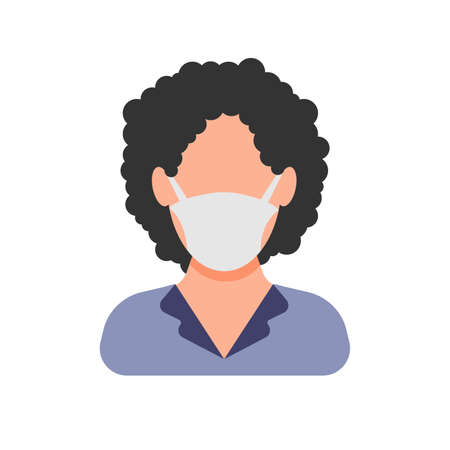 Avatar icon wearing protective face mask. Woman in flat style with medical mask. Vector illustration
