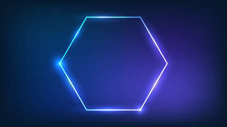 Neon hexagon frame with shining effects on dark background. Empty glowing techno backdrop. Vector illustration.