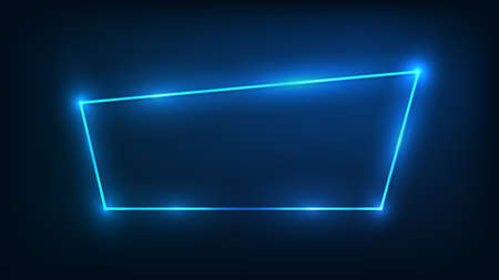 Neon frame with shining effects on dark background. Empty glowing techno backdrop. Vector illustration.