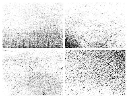 Grunge grainy dirty texture. Set of four abstract urban distress overlay backgrounds. Vector illustration