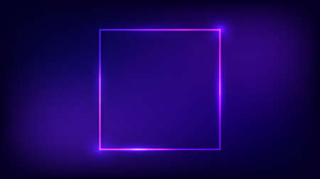 Neon square frame with shining effects on dark background. Empty glowing techno backdrop. Vector illustration. Vettoriali