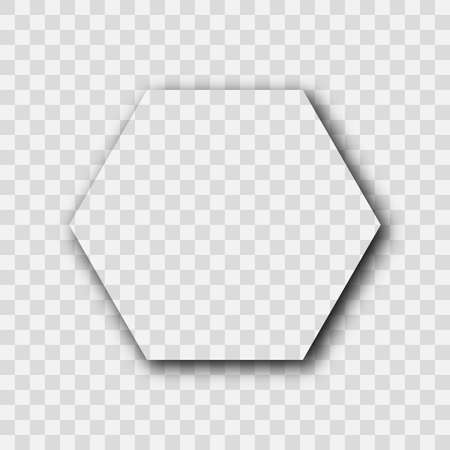 Dark transparent realistic shadow. Hexagon shadow isolated on transparent background. Vector illustration.