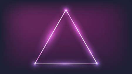 Neon triangular frame with shining effects on dark background. Empty glowing techno backdrop. Vector illustration.