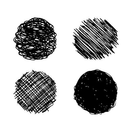 Sketch scribble smear. Set of four black pencil drawings in the shape of a circle on white background. Great design for any purposes. Vector illustration.