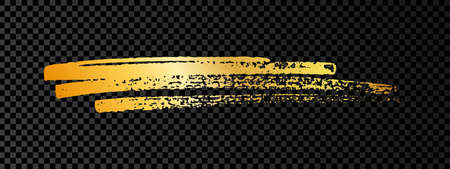 Gold paint brush smear stroke. Abstract gold glittering sketch scribble smear on dark transparent background. Vector illustration. Vectores