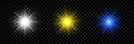 Light effect of lens flares. Set of three white, yellow and blue glowing lights starburst effects with sparkles on a transparent background. Vector illustration