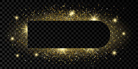 Golden frame with glitter, sparkles and flares on dark transparent  background. Empty luxury backdrop. Vector illustration.