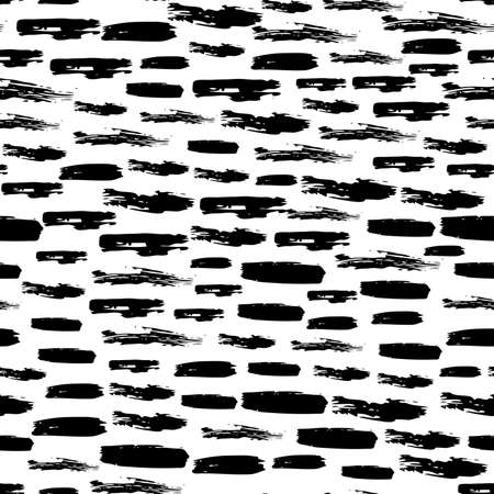 Seamless pattern with dark hand drawn scribble smear on white background. Abstract grunge texture. illustration