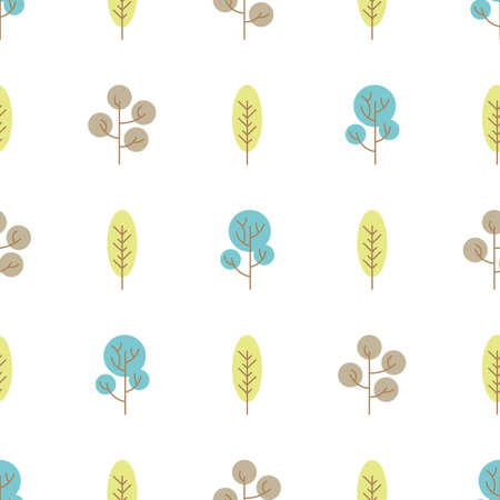 Seamless pattern with colored trees on white background. illustration.