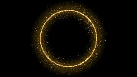 Cadre de cercle doré avec des paillettes, des étincelles et des fusées éclairantes sur fond sombre. Toile de fond de luxe vide. Illustration vectorielle.