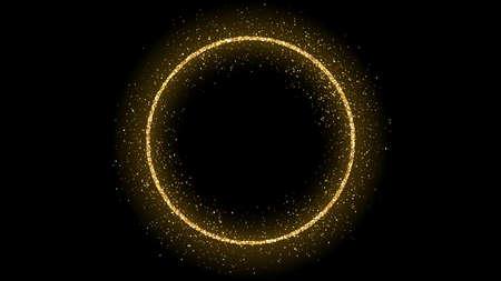 Goldener Kreisrahmen mit Glitzer, Funkeln und Fackeln auf dunklem Hintergrund. Leere Luxuskulisse. Vektor-Illustration.