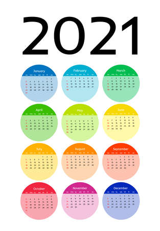 Calendar for 2021 isolated on a white background. Sunday to Monday, business template. Vector illustration Ilustracja