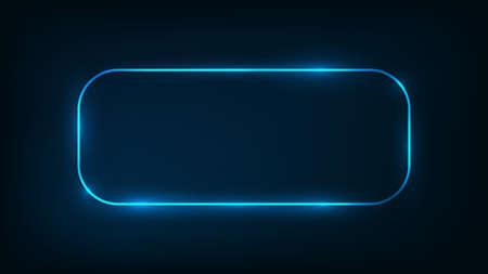 Neon rounded rectangle frame with shining effects on dark background. Empty glowing techno backdrop. Vector illustration.