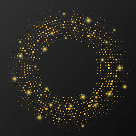 Abstract gold glowing halftone dotted background. Gold glitter pattern in circle form. Circle halftone dots. Vector illustration Vettoriali