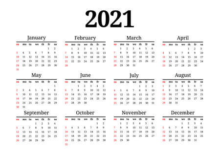 Calendar for 2021 isolated on a white background. Sunday to Monday, business template. Vector illustration