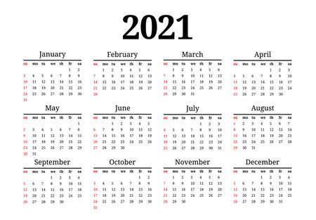 Kalender für 2021 isoliert auf weißem Hintergrund. Sonntag bis Montag, Business-Vorlage. Vektor-Illustration
