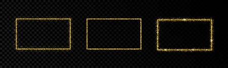 Shiny frames with glowing effects. Set of three glitter gold rectangular frames on transparent background. Vector illustration