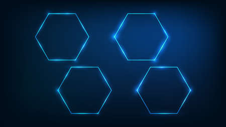Set of four neon hexagon frames with shining effects on dark background. Empty glowing techno backdrop. Vector illustration.
