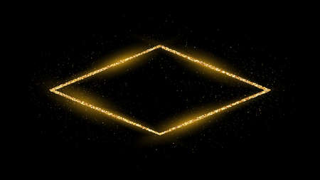 Golden rhombus frame with glitter, sparkles and flares on dark background. Empty luxury backdrop. Vector illustration.