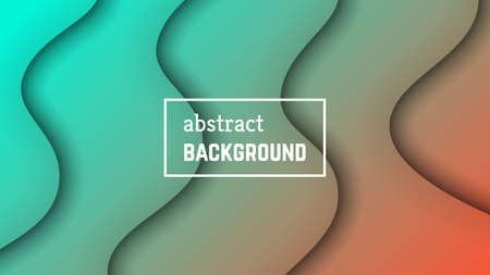 Abstract minimal wave geometric background.  Orange-green wave layer shape for banner, templates, cards. Vector illustration. Vectores