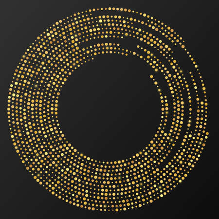 Abstract gold glowing halftone dotted background. Gold glitter pattern in circle form. Circle halftone dots. Vector illustration Vectores