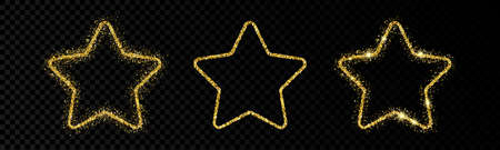 Shiny frames with glowing effects. Set of three glitter gold star frames on transparent background. Vector illustration