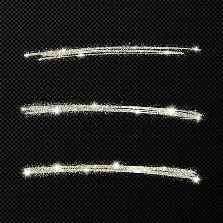 Abstract shiny confetti glittering waves. Set of three hand drawn brush silver strokes on black transparent background. Vector illustration Vectores