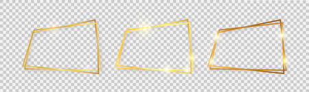 Double shiny frames with glowing effects. Set of three gold double frames with shadows on transparent background. Vector illustration