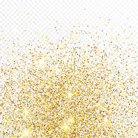 Gold glitter confetti backdrop isolated on white transparent background. Celebratory texture with shining light effect. Vector illustration.