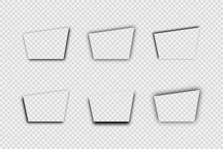 Dark transparent realistic shadow. Set of six trapezoid shadows isolated on transparent background. Vector illustration.