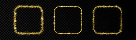 Shiny frames with glowing effects. Set of three glitter gold rounded square frames on transparent background. Vector illustration