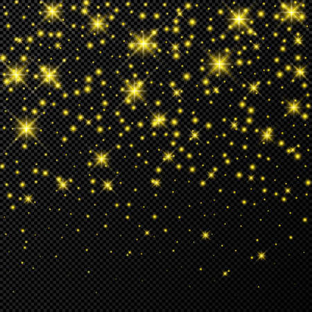 Gold backdrop with stars and dust sparkles isolated on dark transparent background. Celebratory magical Christmas shining light effect. Vector illustration.