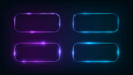 Set of four neon rounded rectangle frames with shining effects on dark background. Empty glowing techno backdrop. Vector illustration. Vectores
