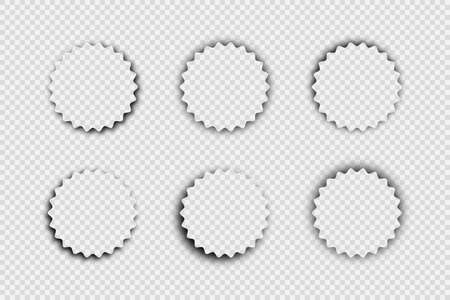 Dark transparent realistic shadow. Set of six round shadows isolated on transparent background. Vector illustration.