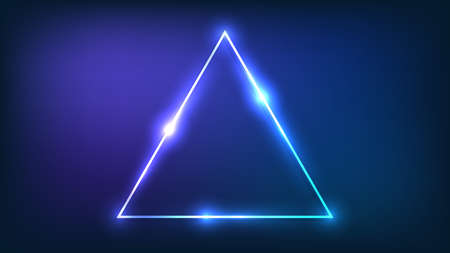 Neon triangle frame with shining effects on dark background. Empty glowing techno backdrop. Vector illustration.