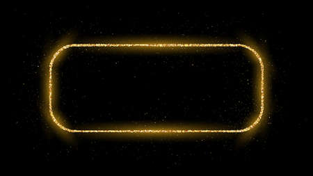 Golden rounded rectangle frame with glitter, sparkles and flares on dark background. Empty luxury backdrop. Vector illustration.